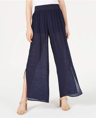 BCX Split Wide-Leg Gauzy Pants