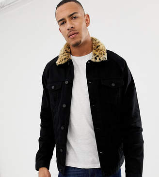 Asos DESIGN Tall denim jacket with leopard print faux fur collar
