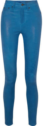 Rag & Bone Leather Skinny Pants - Blue