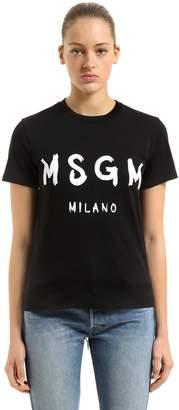 MSGM (エムエスジーエム) - MSGM ロゴプリント コットンジャージーTシャツ