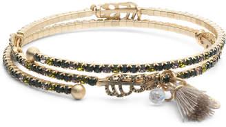 lonna & lilly Gold-Tone Pave, Bead & Tassel Coil Bracelet