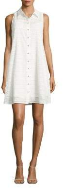 Calvin Klein Sleeveless Spread-Collar Shirtdress