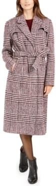 Cole Haan Maxi Plaid Belted Coat