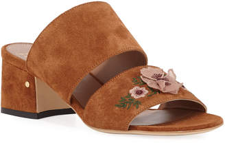 Laurence Dacade Titina Embroidered Suede Slide Sandals