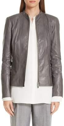 Lafayette 148 New York Sadie Glazed Lambskin Leather Jacket