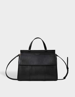 Tory Burch Block T Satchel Bag in Black Lambskin Leather