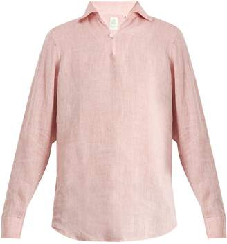 Finamore Minorca spread-collar linen shirt