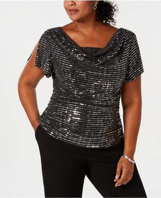 R & M Richards Plus Size Embellished Cowl-Neck Top