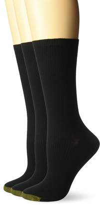 Gold Toe Women's Non-Binding Ribbed Crew Socks, 3 Pairs