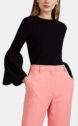 Valentino Women's Stretch-Crepe Flounce-Sleeve Top - Black