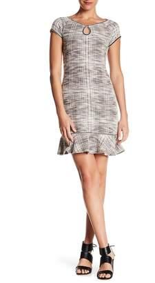 Max Studio Tweed Keyhole Ruffle Dress