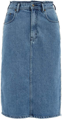 Acne Studios Ilyssia Den Distressed High-Rise Denim Midi Skirt