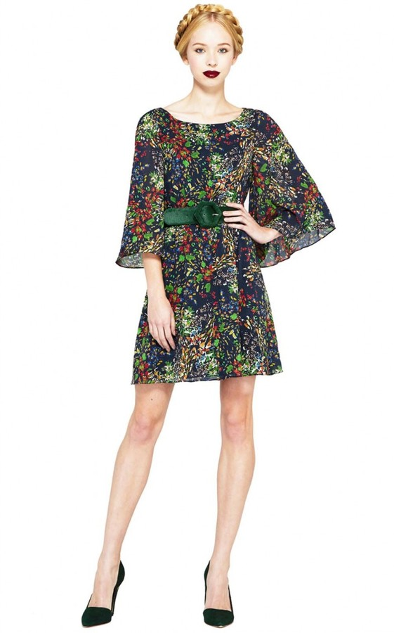 Alice + Olivia Bauery Boatneck Bell Sleeve Dress