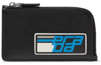 Prada Logo-Appliquéd Saffiano Leather Zip-Around Cardholder