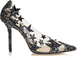 Jimmy Choo LISHA 100 Black and Smoke Mix Plexi Star Patchwork Pointy Toe Pumps with Crystals