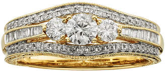 JCPenney MODERN BRIDE 1 CT. T.W. Certified Diamond 14K Yellow Gold Vintage-Style 3-Stone Contour Bridal Ring