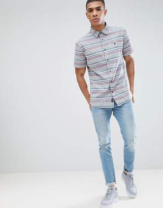 Jack Wills Northwood slub cotton stripe shirt in navy