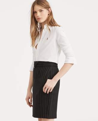 Ralph Lauren Stripe Linen-Wool Pencil Skirt