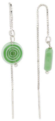 Made In Italy Sterling Silver Murano Glass Threader Earrings