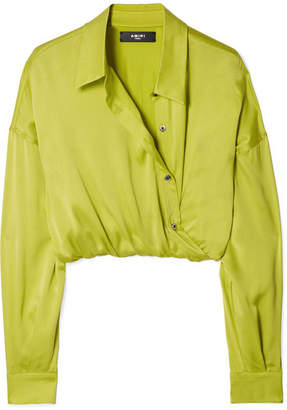 Amiri Wrap-effect Cropped Silk-charmeuse Shirt - Yellow