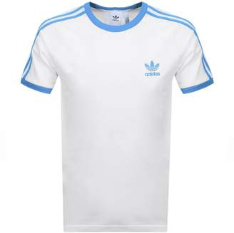 adidas California 3 Stripe T Shirt White