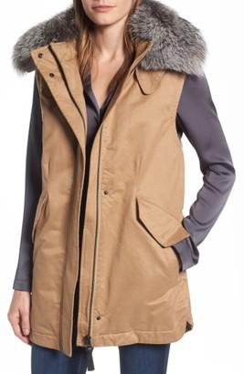Women's Derek Lam 10 Crosby Genuine Fox Fur Trim Long Vest $450 thestylecure.com