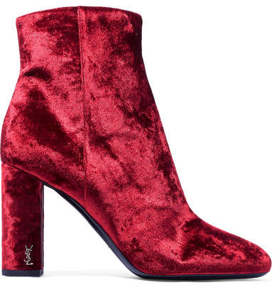 Saint Laurent - Loulou Velvet Ankle Boots - Crimson