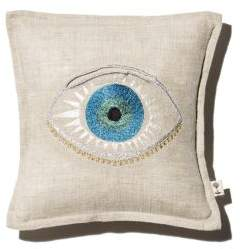 Coral & Tusk Evil Eye Embroidered Pocket Decorative Pillow, 7 x 7