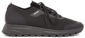 Prax 01 Stretch Knit And Leather Trainers - Mens - Black