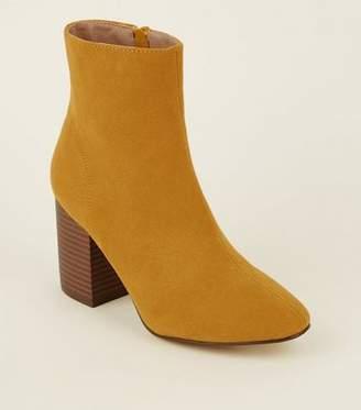 New Look Mustard Suedette Block Heel Ankle Boots