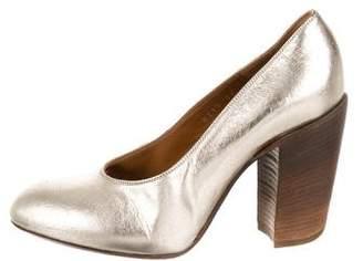 Dries Van Noten Metallic Leather Round-Toe Pumps