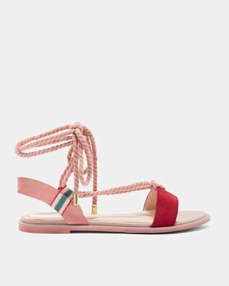 Ted Baker MOYAA Suede rope tie flat sandals