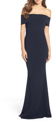 Women's Katie May Crepe Off The Shoulder Gown $295 thestylecure.com