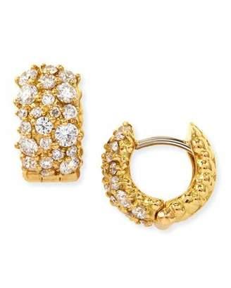 Paul Morelli Small White Diamond Confetti Hoop Earrings