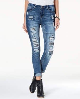 Vanilla Star Juniors' Studded Ripped Skinny Jeans