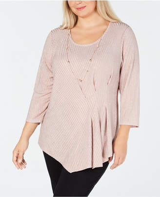 JM Collection Plus Size Asymmetric Necklace Top, Created for Macy's