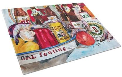 Caroline's Treasures Veron's and New Orleans Beers Glass Cutting Board Large