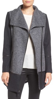 Women's Guess Mixed Media Wool Blend Coat $178 thestylecure.com