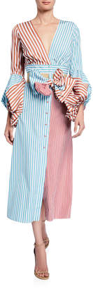 Silvia Tcherassi Balloon-Sleeve Striped V-Neck Shirtdress