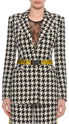 Off-White Single-Breasted Houndstooth Wool Jacket with Embossed Belt