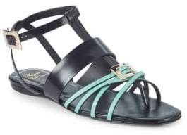 Roger Vivier Leather Strappy Flat Sandals