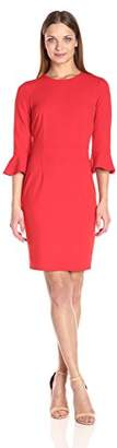 Donna Morgan Women's Elbow Bell Sleeve Crepe Sheath $118 thestylecure.com