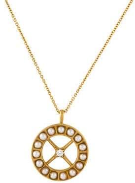 Monica Rich Kosann 18K Pearl & Diamond Pendant Necklace