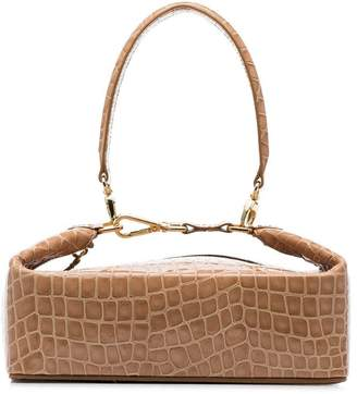 REJINA PYO brown Olivia crocodile-embossed leather box bag