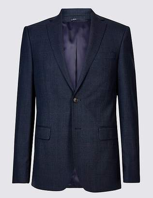 Marks and Spencer Indigo Checked Tailored Fit Wool Jacket