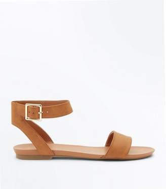 New Look Tan Ankle Strap Flat Sandals