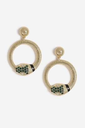 Topshop Snake Wrap Gem Hoop Earrings