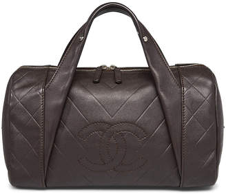 Chanel All Day Long Bowler Quilted Chevron Medium Brown