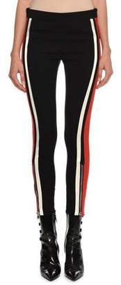 Alexander McQueen Mid-Rise Racer-Striped Stretch-Wool Leggings
