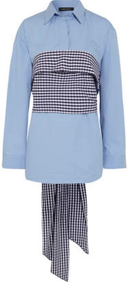 Cédric Charlier Wrap-around Gingham And Cotton-poplin Shirt - Sky blue